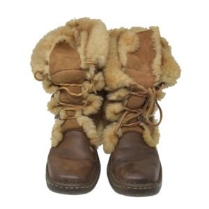 Børn Shoes - BORN Sz 8 Brown Suede & Leather Shearling Boots